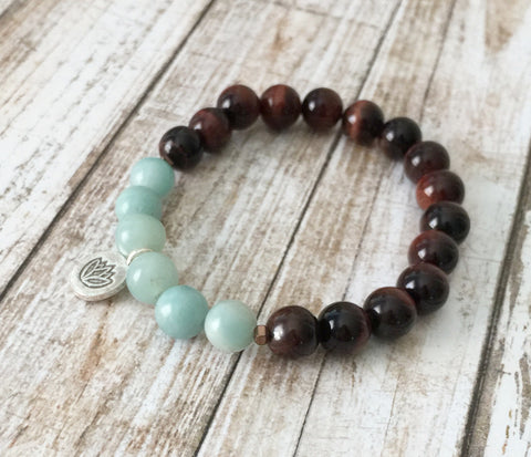 Amazonite and Red Tiger Eye Lotus Bracelet