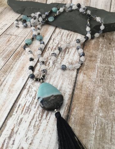 Dendritic Agate, White Jade and Amazonite Mala