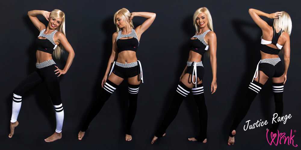 Activewear fitness clothing Justice range by Wink Designs. Yoga clothing by Wink.