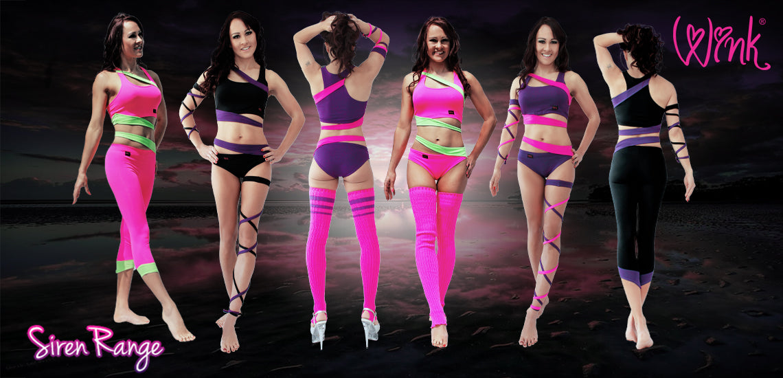 pole dance clothing Siren range by Wink Designs. Double fabric layer on bust with elasticated bottom for added support