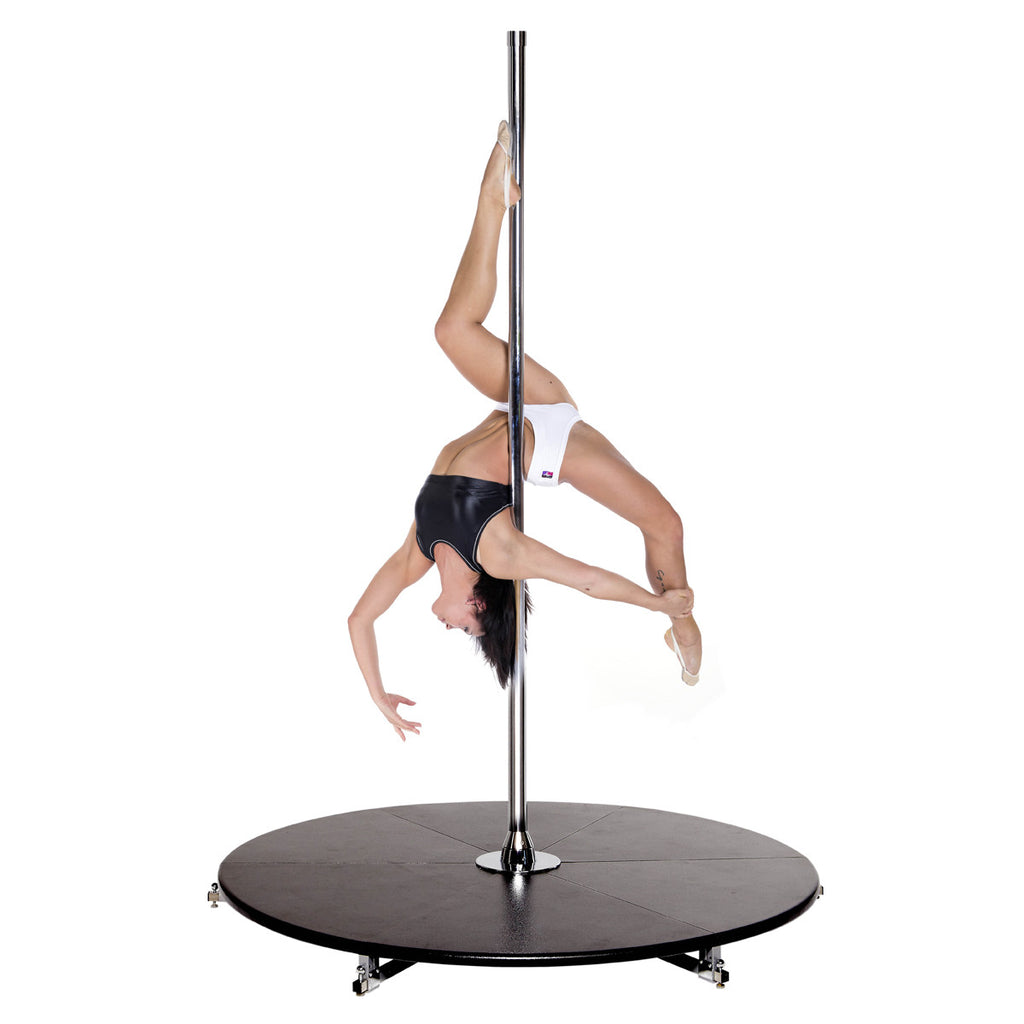 Lady pole dancing from home