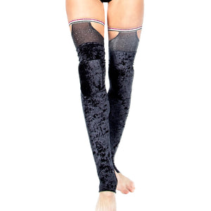 Glitter Mist Leg Warmers with Padded Knees W0212 (black or raspberry)