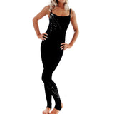 Spaghetti Strap Catsuit with Diamantes