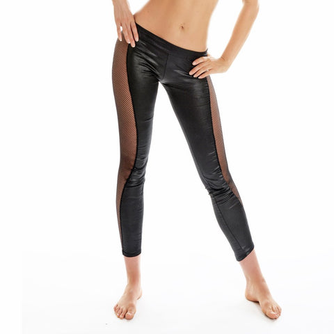 Wetlook Grip and Mesh Leggings W0144
