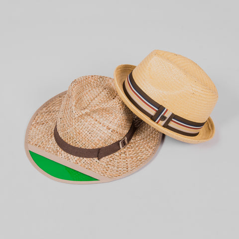 bb60156259b03 It s a novel head nod to the hedonistic writer Hunter S. Thompson. The  Brixton Castor Fedora Hat is a lightweight straw fedora hat featuring a  patterned ...