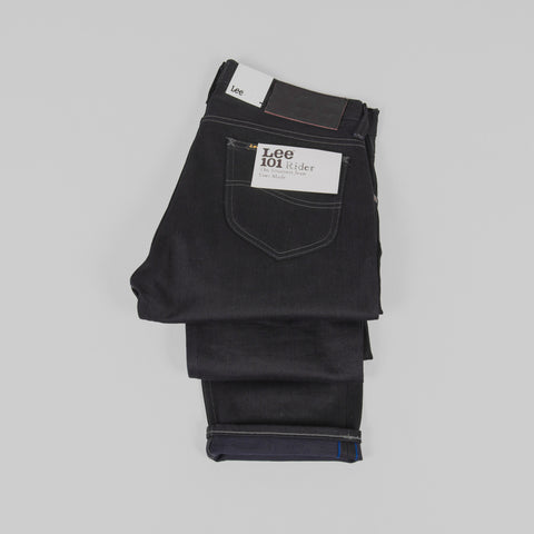 Lee 101 Rider Jeans - Blue Selvage Black Detail