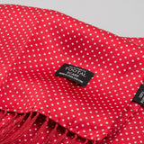 Tootal TL 3805 White Pin Dot Silk Scarf - Red