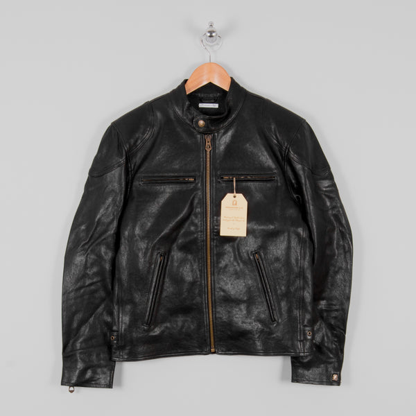 Shangri La Heritage Cafe Racer Leather Jacket - Black 1