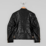 Shangri La Heritage Cafe Racer Leather Jacket - Black 3
