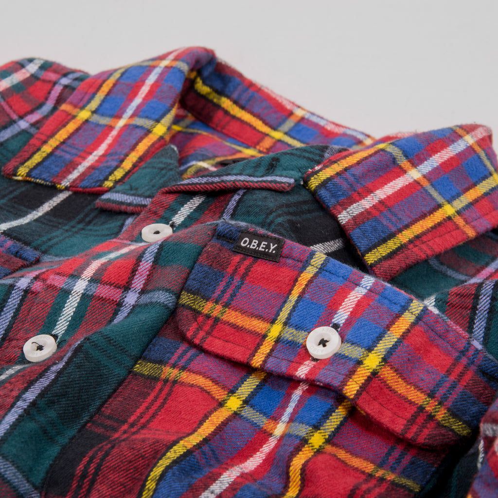 Obey Capital Woven Shirt - Deep Teal Multi 2