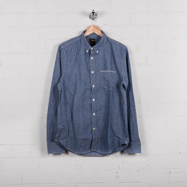 Lee Button Down Shirt Blue Book Front