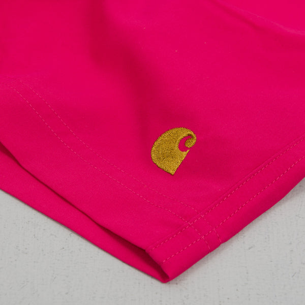 Carhartt WIP Chase Swim Trunks - Ruby Pink / Gold 4