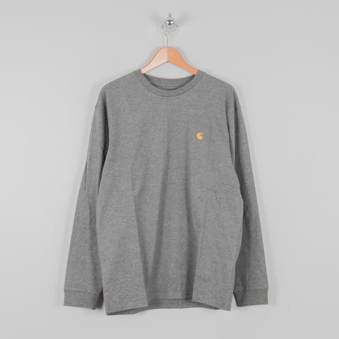 Carhartt WIP Chase L/S Tee - Dark Grey Heather / Gold 1