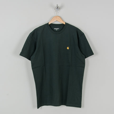 Carhartt WIP Chase S/S Tee - Dark Teal / Gold 1