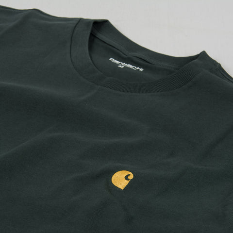 Carhartt WIP Chase S/S Tee - Dark Teal / Gold 2