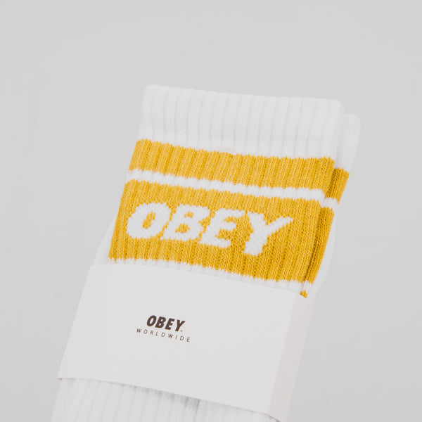 Obey Cooper II Socks - White / Golden Palm 2