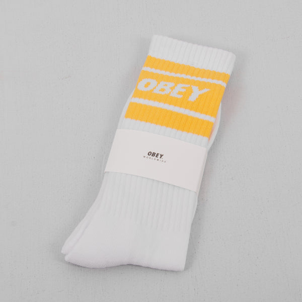 Obey Cooper II Socks - White / Mellow Yellow 1