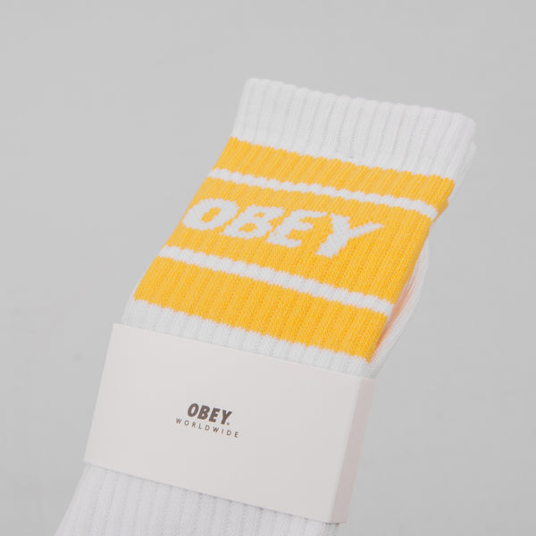 Obey Cooper II Socks - White / Mellow Yellow 2