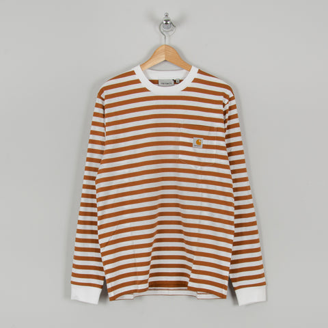 Carhartt WIP Scotty L/S Striped Pocket Tee - Rum / White 1