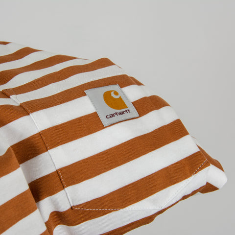Carhartt WIP Scotty L/S Striped Pocket Tee - Rum / White 2