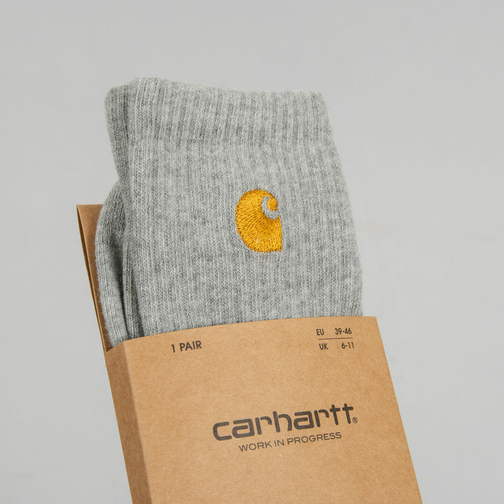 Carhartt WIP Chase Socks - Grey Heather /Gold 2