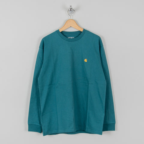 Carhartt WIP Chase L/S Tee - Hydro/ Gold 1