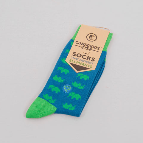 Conscious Step Protect Elephant Socks - Blue / Green 1