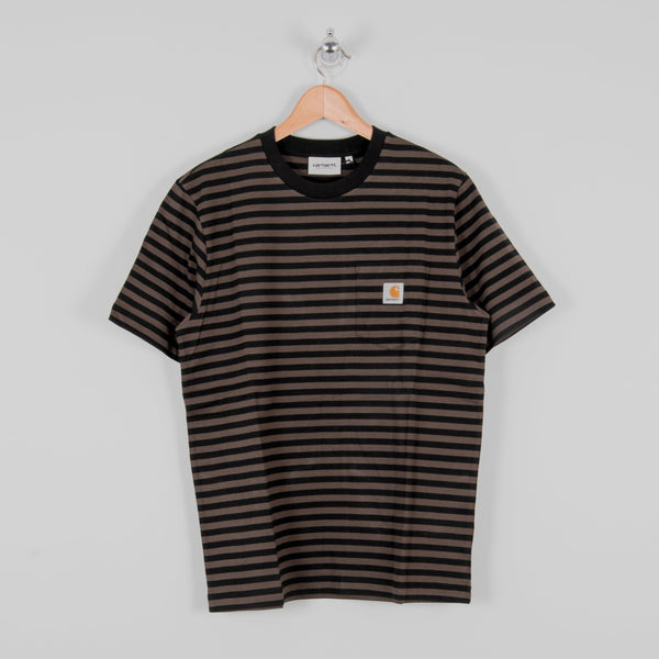 Carhartt WIP Haldon Pocket Stripe S/S Tee - Black / Cypress 1