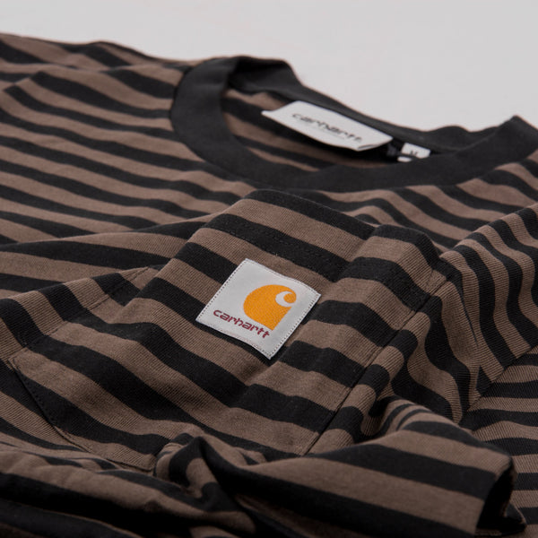 Carhartt WIP Haldon Pocket Stripe S/S Tee - Black / Cypress 2