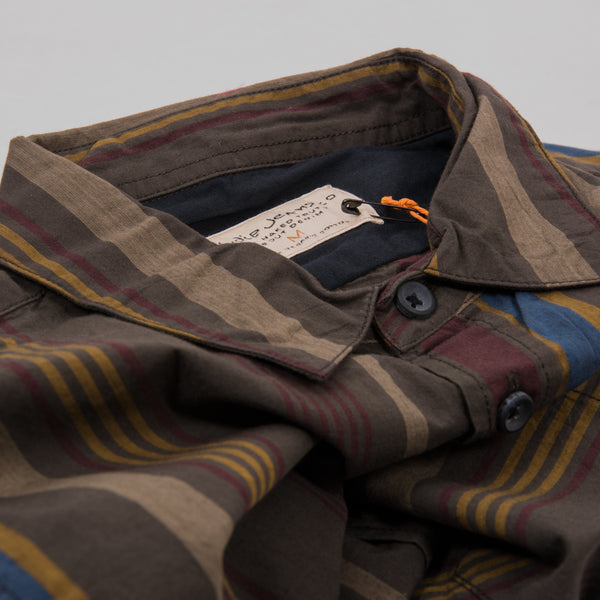 Nudie Henry Club Stripes Shirt - Bunker 2