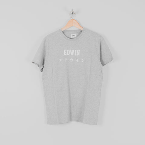 Edwin Japan Tee - Grey Marl Front