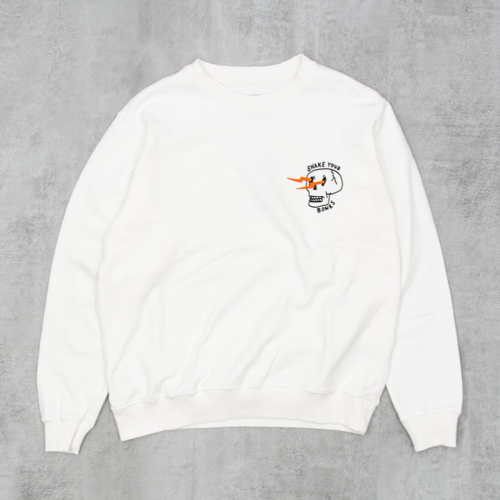 Nudie Lasse Shake Your Bones Sweatshirt - Chalk White 1