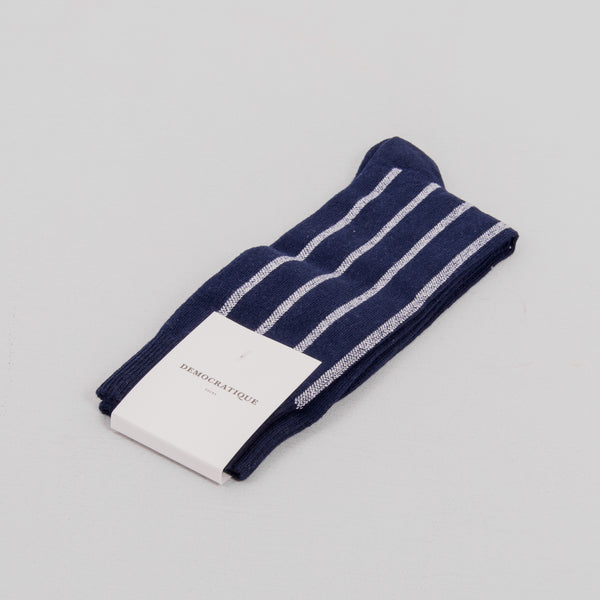 Democratique Latitude Striped Sock - Navy 1