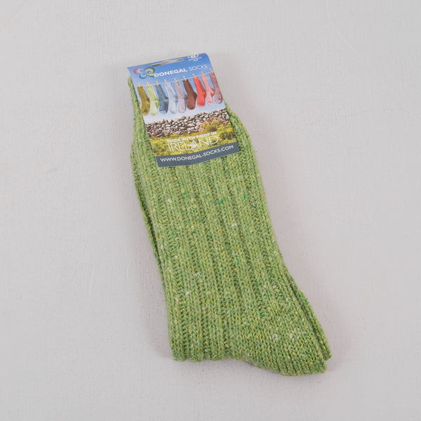 Donegal Socks in traditional Wool - Light Green 1