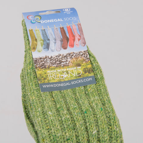 Donegal Socks in traditional Wool - Light Green 2