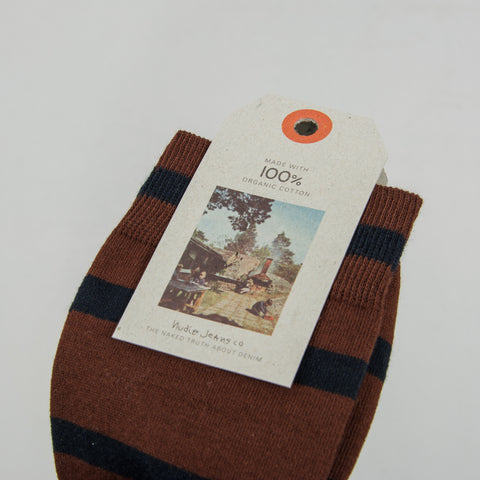 Nudie Olsson Tiger Stripes Socks - Brown 2