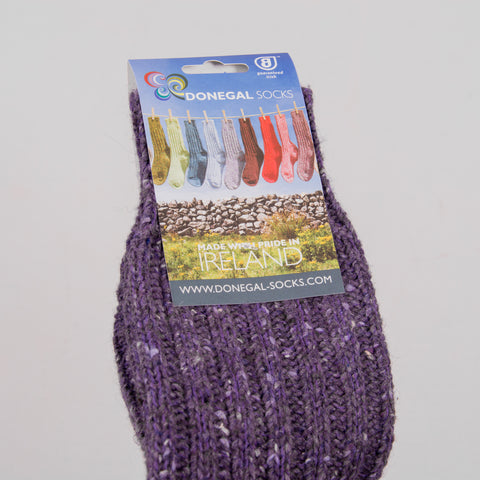 Donegal Socks in traditional Wool - Purple 2