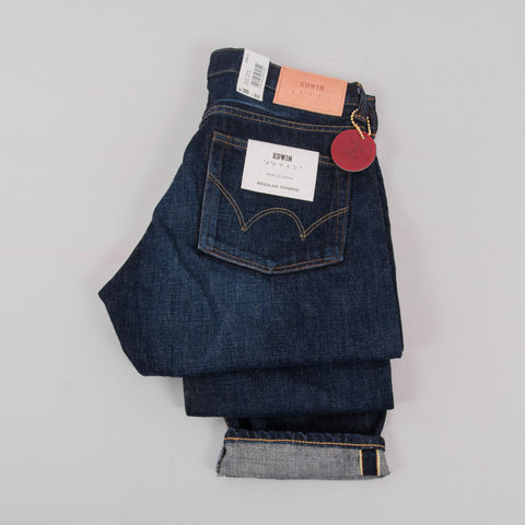 Edwin Regular Tapered Jeans - Nihon Menpu Dark Pure Indigo Used 2