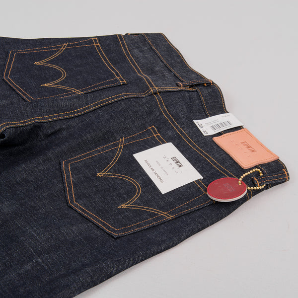 Edwin Regular Tapered Jeans - Nihon Menpu Dark Pure Indigo Blue Selvage 4
