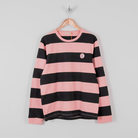 Nudie Rudi Block Stripe L/S Tee - Rose 1