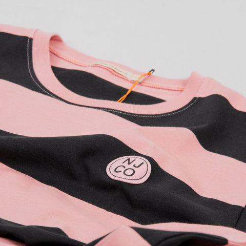 Nudie Rudi Block Stripe L/S Tee - Rose 2