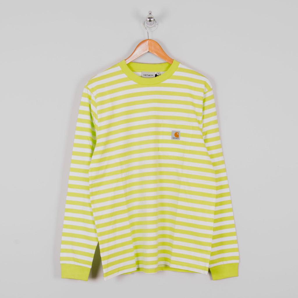 Carhartt WIP Scotty L/S Striped Pocket Tee - Lime / White 1