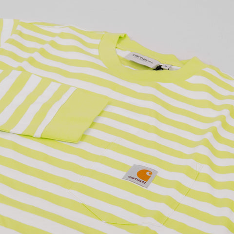 Carhartt WIP Scotty L/S Striped Pocket Tee - Lime / White 2