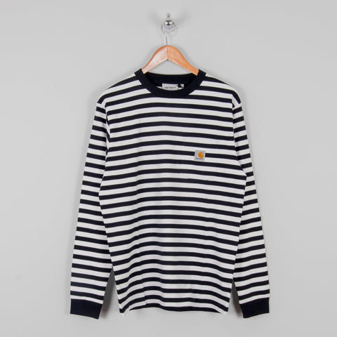 Carhartt WIP Scotty L/S Striped Pocket Tee - Dark Navy 1