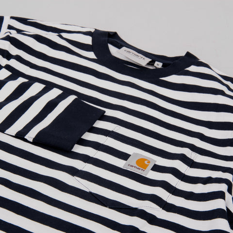 Carhartt WIP Scotty L/S Striped Pocket Tee - Dark Navy 2