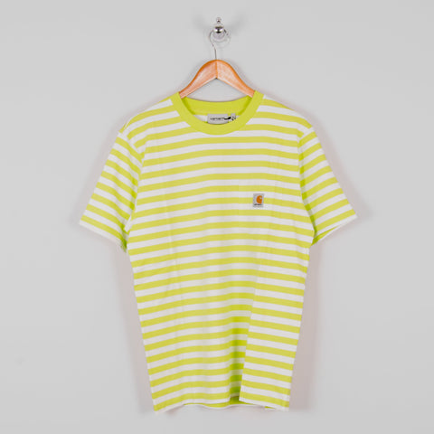 Carhartt WIP Scotty S/S Striped Pocket Tee - Lime 1