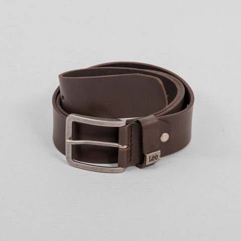 Lee Small Logo Leather Belt - Dark Brown 1