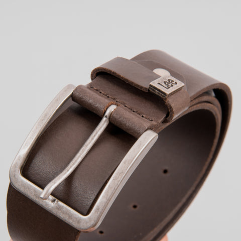 Lee Small Logo Leather Belt - Dark Brown 2