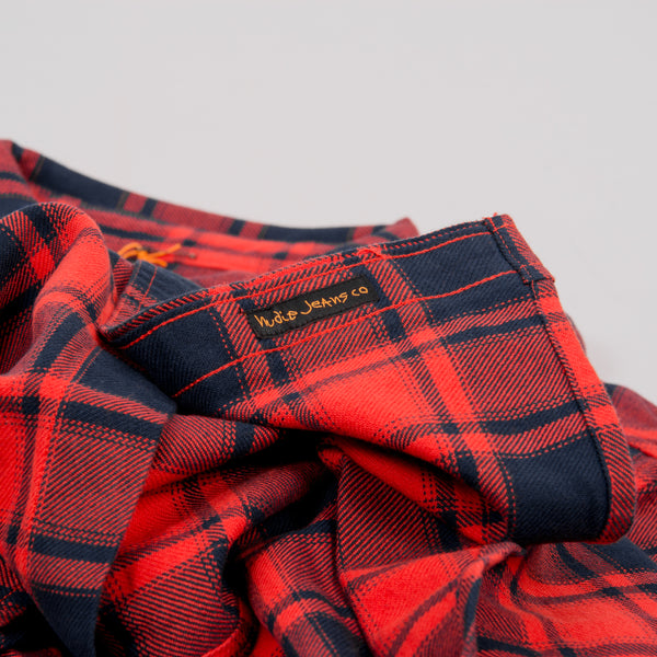 Nudie Sten Flannel Check Shirt - Red Alert 3