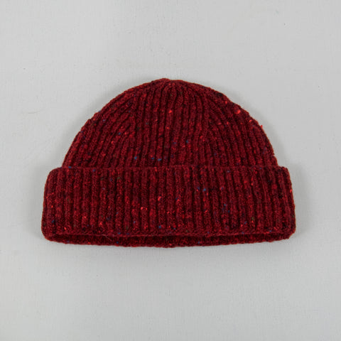 Donegal Wool Beanie - Burgundy 1